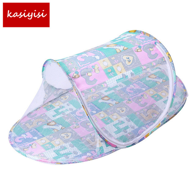 Baby Crib Portable Type Comfortable Babies Pad with Sealed Mosquito Net Kids Infant Bed Mosquito Net