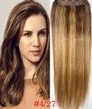 """Envío libre 16 """"-28"""" 1 unids set #4/27 100% suave pelo indio de remy clips en/sobre las extensiones de cabello humano 70g 80g 100g 120g 140g 160g"""