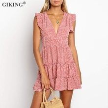 GIKING Polka Dot Women Dress Summer Fashion 2019 V-neck Ruffles Boho Dresses Female Sleeveless Pink Blue Mini Sundress vestidos