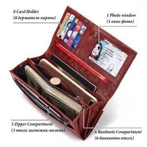 Image 4 - KAVIS portefeuille en cuir véritable pour femmes, porte monnaie pochette pour femmes, avec pince pour sac de téléphone, porte carte, passeport pratique