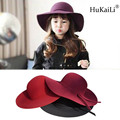 children hats wool hat Girls topi wide-brim big hat costume Hepburn wind for child sunhat