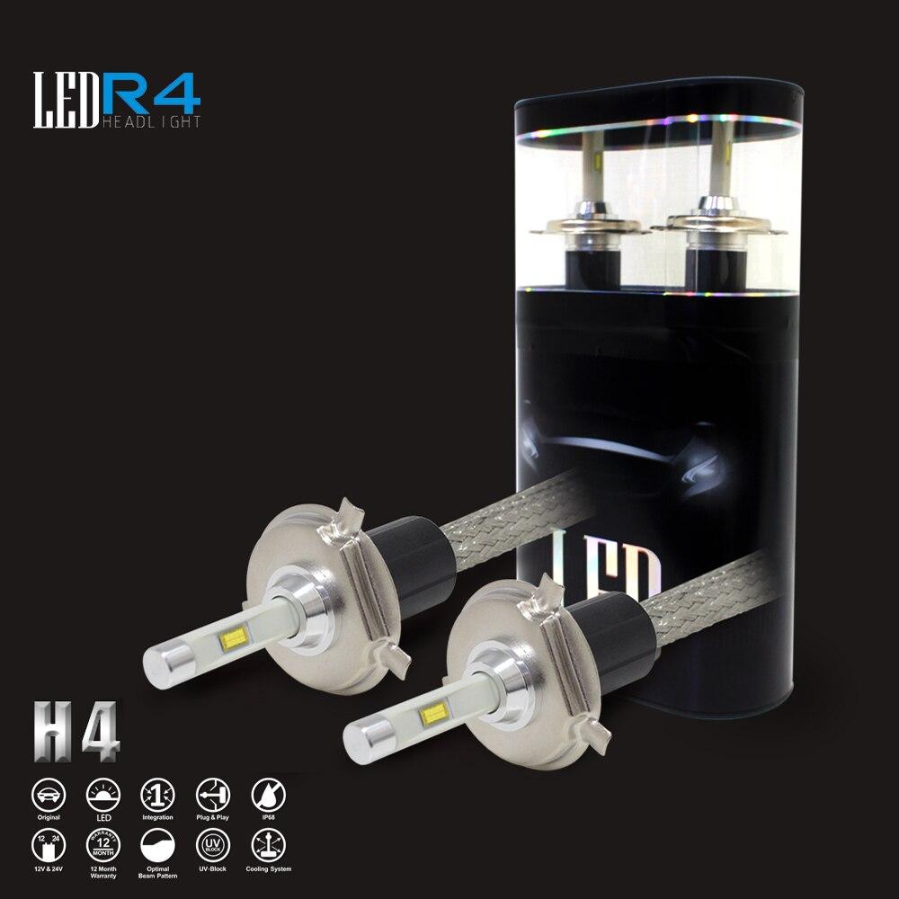 ФОТО One Set Whole Price R4 H4 Diy 12v Led Bulb Tractor Light Bulbs 24v Led Light Bulbs for Cars 4800LM Auto Headlight H1 H3 H11