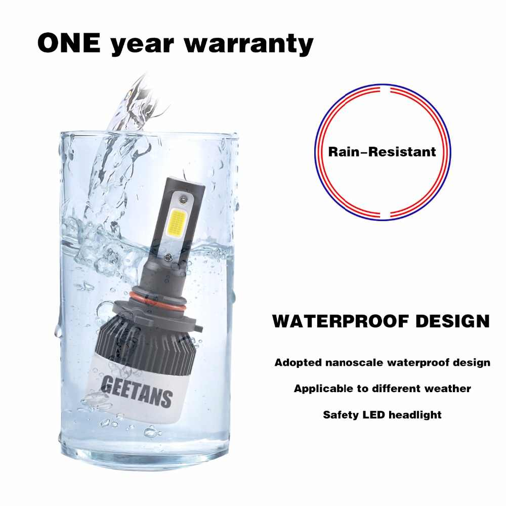 Geetans Waterproof Car headlight H4 LED H7 H11 H8 H9 9005 880 9007 9006 H3 Super bright Automobiles Headlamp 8000LM 72W 6500K EJ