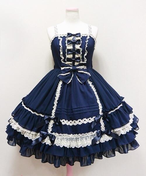 Retro Sweet Lolita Dress Vintage Cosplay Costume Bowknots Multi Layers JSK Dress
