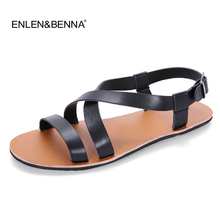 цены 2018 Summer Leather Sandals Men Fashion Brand Quality Gladiator Beach Sandals Slippers Men Casual Shoes Sandals sandalias mujer