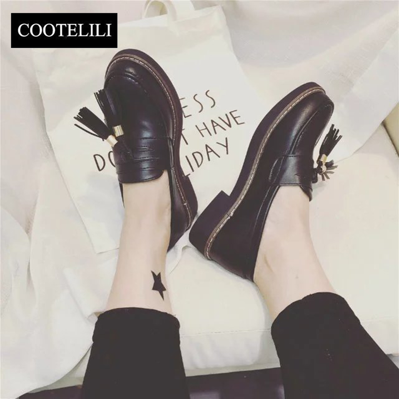 COOTELILI 35-39 Spring Casual Flats Women Shoes Solid Platform Fringe Round Toe Loafers Concise British Style Leisure Shoes concise lofers for women spring women flats elastic band round toe flats size 34 43 flat sole platform shoes 2016 women shoes