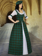 Scottish Tartan Two Piece Traditional Dress Handmade in Tartan Plaid