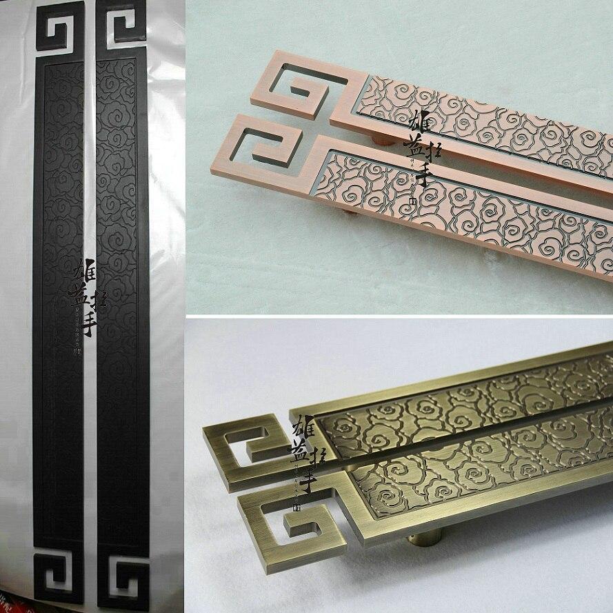 Antiguo chino nubes Hotel Puerta talla puerta de madera manija/europeo lujoso moderno manija de la puerta de vidrio