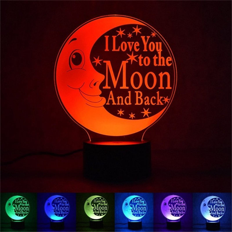 Wrumava 3D LED Optical Illusion Night Light I Love You to the Moon and Back LED 7 Color Changing Desk Table Lamp Gift