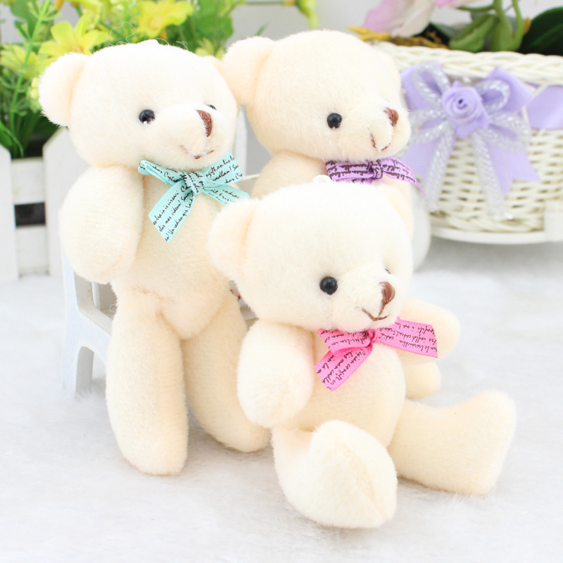 4 3 11cm 48pcs lot Kids Mini Teddy Bear Plush Toy Keychain Bow Tie Joint Bears
