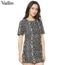 Women vintage Snake skin Dress Vestido Feminino De Festa O neck short sleeve wild animal pattern casual dress QZ1088