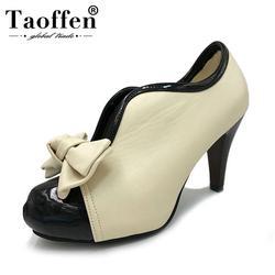 Для женщин Обувь на высоких каблуках новые пикантные женские бежевые с бантом Винтаж бантом Туфли-лодочки на платформе круглый носок дамы