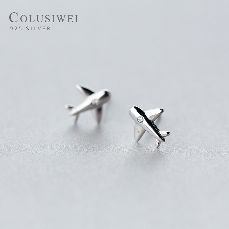 Colusiwei Lovely Plane Tiny Stud Earrings for Women Real 925 Sterling Silver Airplane Earrings for Girl Gfits Original Design image