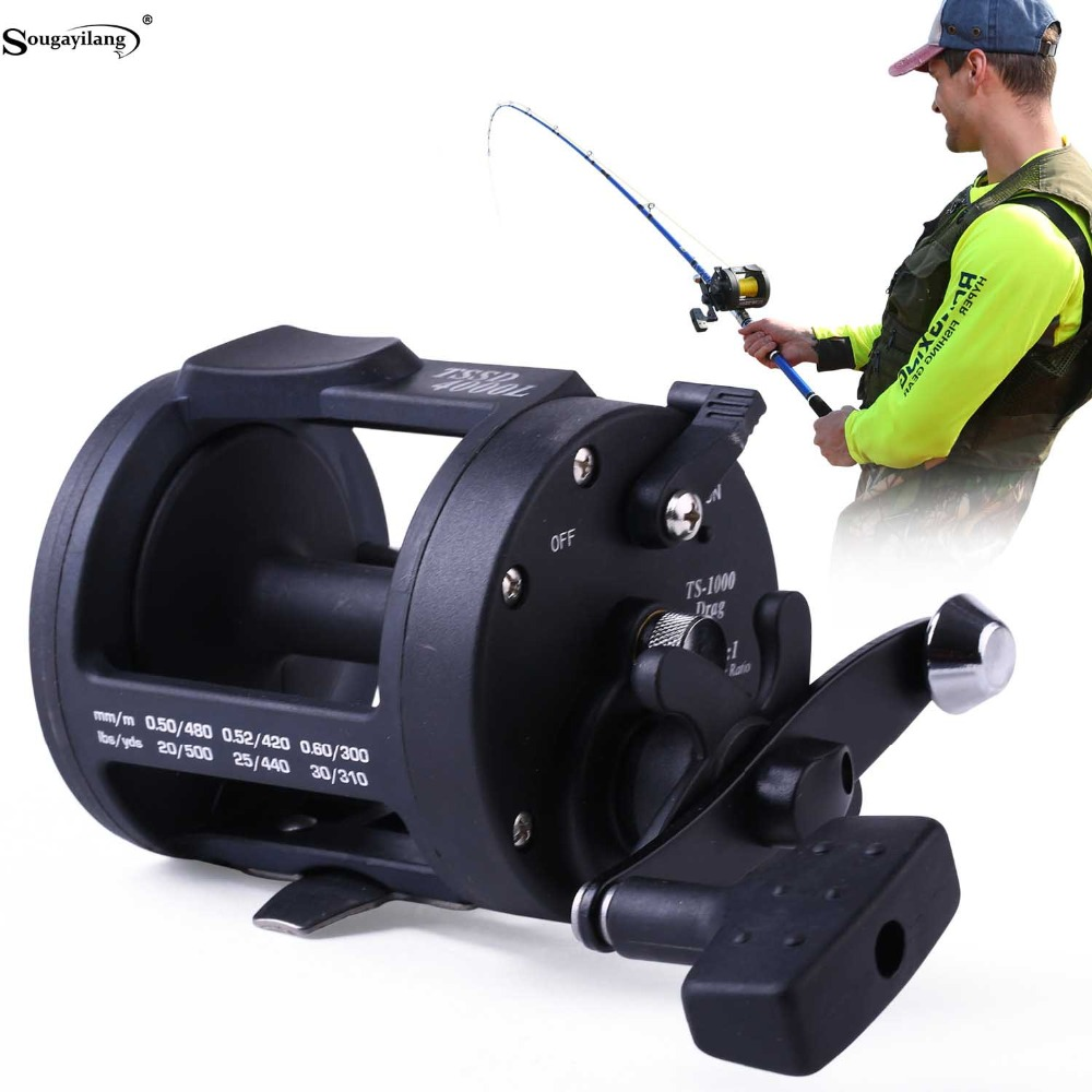 Sougayilang Drum Fishing Reels 3.8: 1 Count Wheel Høyrehåndshjul Saltvannshylser Baitcasting Trolling Reel Coil Fishing Tackle