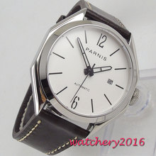 43mm PARNIS White Dial Polygon Case Sapphire Glass Date Top Brand Luxury Miyota 821A Movement mens Watch