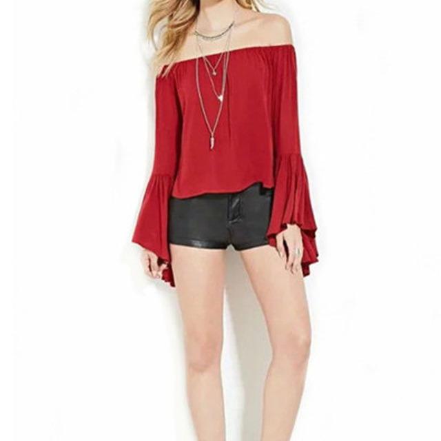 Women Summer Crop Top Slash Neck Off the Shoulder Flare Sleeve Solid Red Cotton  Short Loose Blouse & Shirt