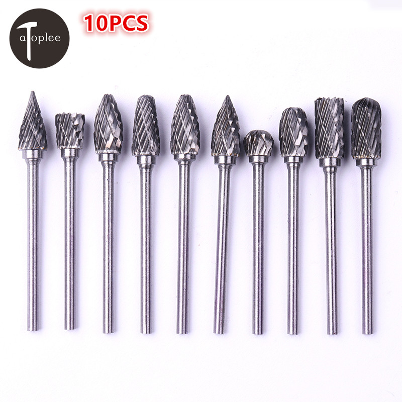 10Pcs 2.35mm(3/32) 6mm Tungsten Carbide Cutter Rotary Burr Set Dremel Accessories Rotary Tools Milling Cutter Engraving Bit10Pcs 2.35mm(3/32) 6mm Tungsten Carbide Cutter Rotary Burr Set Dremel Accessories Rotary Tools Milling Cutter Engraving Bit