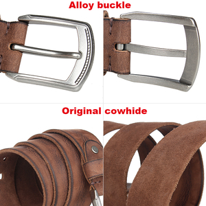 Image 4 - Natural cowhide belt for mens hard metal buckle soft original cowhide mens leather belt unique texture real leather jeans belt