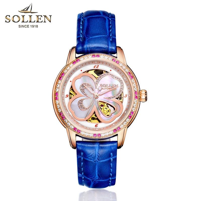 SOLLEN Lucky Clover Women s Watch font b Luxury b font Brand font b Mechanical b