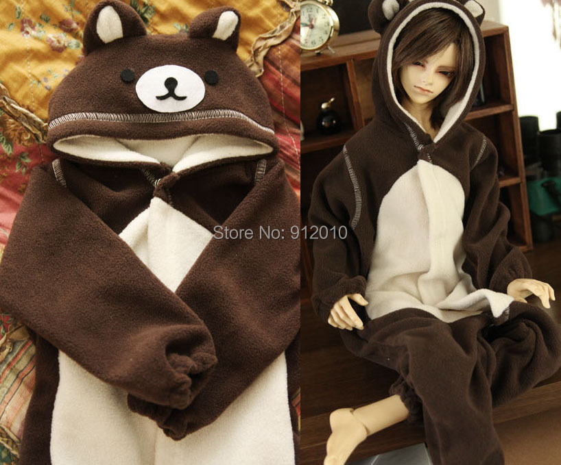Cute Bear Pajamas Animal Outfit for BJD 1/6 1/4 SD10 DD SD13 SD17 Uncle Luts DOD AS DZ SD Doll Clothes ALB3 new 1 3 22 23cm 1 4 18 18 5cm bjd sd dod luts dollfie doll orange black short handsome wig