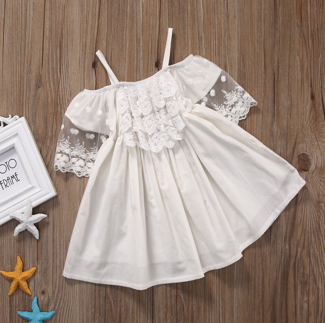 a9444efdb Lace Girl Clothing Princess Dress Kid Baby Party Wedding Pageant Formal Mini  Cute White Dresses Clothes Baby Girls-in Dresses from Mother & Kids on ...