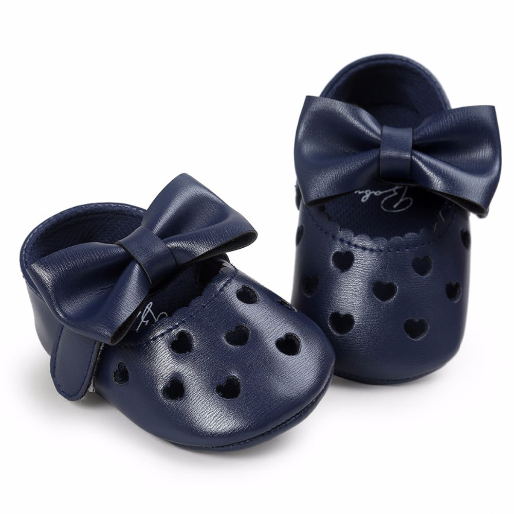 Dark Blue PU Leather Newborn Baby Girls Princess Heart-Shaped Mary Jane Big Bow Prewalkers Soft Bottom Shoes Crib Babe Ballet