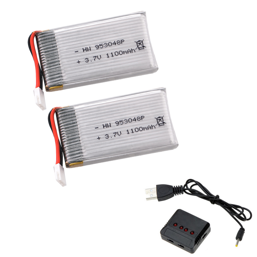 2pcs/lot 3.7V 1100mah 25C 1S VOLT 30C Lipo Battery Akku + X4 Charger For Syma X5SW RC Quadcopter Drone image