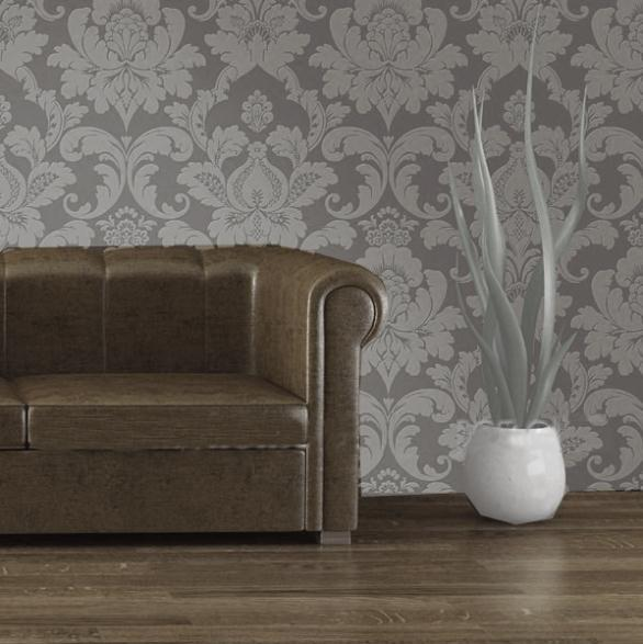 Vintage elegant embossed glitter bedroom wallpaper gray for Grey silver wallpaper living room