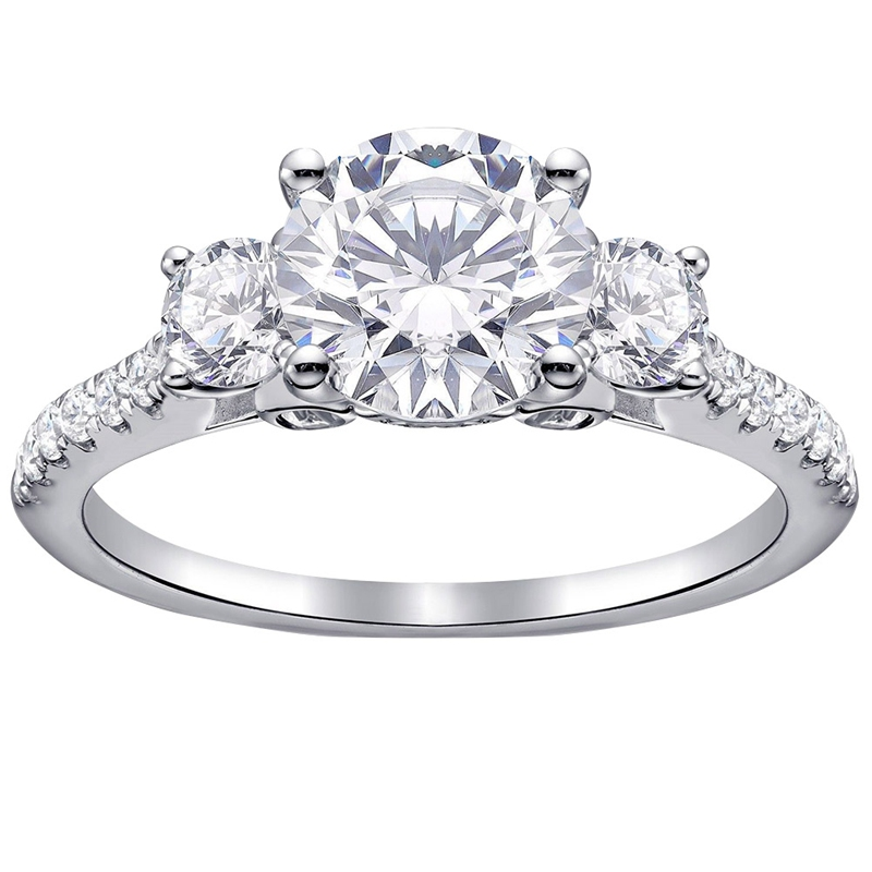 Vintage Round Three-stone Simulated Ring Classic  Wedding Rings For Women Jewelry Wedding Valentine's Day Gift