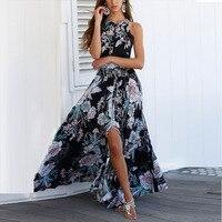 Lily Rosie Girl Women Black Off Shoulder Floral Dress 2018 Summer Beach Long Casual Dresses Boho