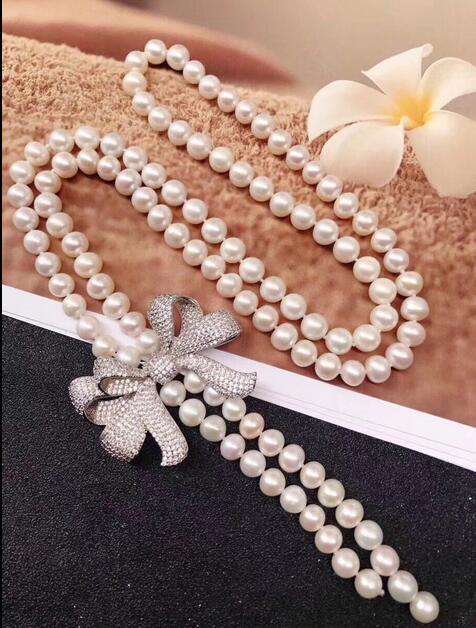 Collier de perles blanches naturelles AAA 8-9 MM 30