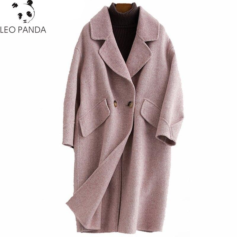 apricot Mujer 2019 Doble Lana Coreano Violet E Alpaca Cachemira De Abrigo  Otoño Invierno Cara Chaqueta Abrigos Mujeres Chaquetas pink ... 978357673be0