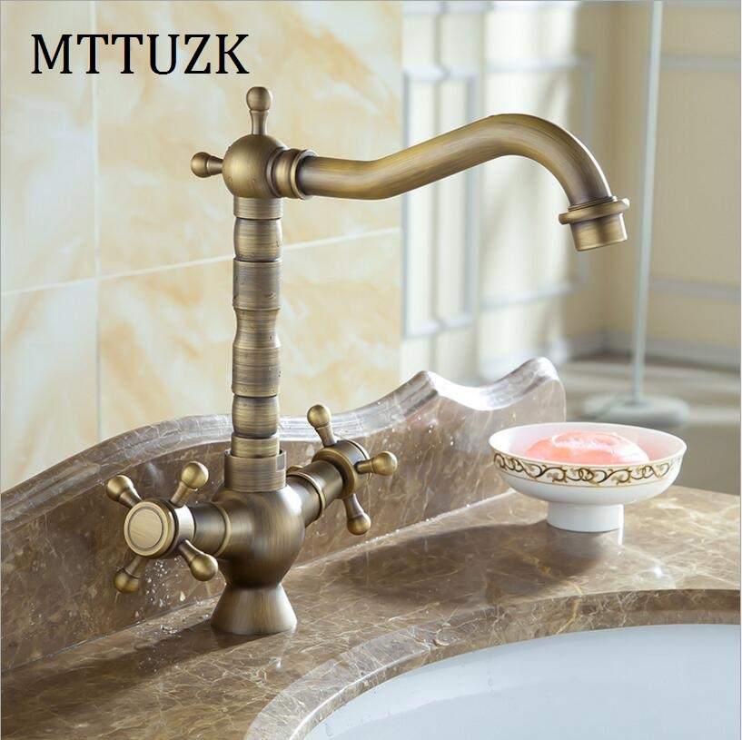 Vidric Antique brass basin faucet Double handle single hole hot and cold mixer tap kitchen faucets wash basin tapVidric Antique brass basin faucet Double handle single hole hot and cold mixer tap kitchen faucets wash basin tap