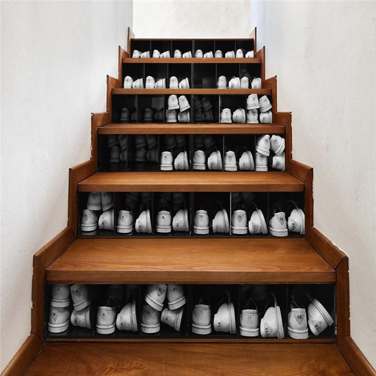 6pcs PVC DIY 3D Stairway Stickers Shoe cabinet waterproof Stairs Sticker Floor Wall Decor Decals Sticker Living Room Decoration sticker