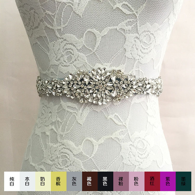 4cm*270cm 2016 New White crystal rhinestone Beaded embellishment waist belt Wedding Bridal Sash women costume Belt  B005