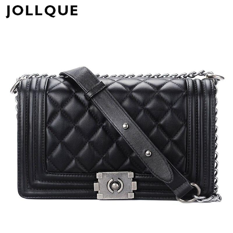 Jollque Alligator Crocodile Leather Mini Small Women Crossbody Bag Chain Flap Womens Handbag Messenger Shoulder Bag Black