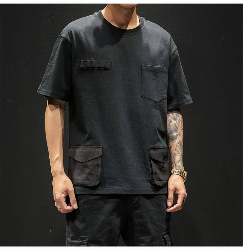 Hip Hop T-shirts Men With pockets Harajuku Oversized Tops Tee Japan Tshirt Streetwear Casual Solid High Street T Shirts Boy 45