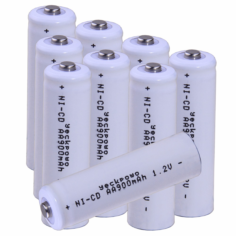 Real capacity! 9 pcs AA 1.2V NICD AA rechargeable AA battery 900mah for camera razor toy remote control flashlight 2A batterie