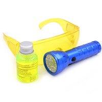 Gzhengtong Autopeças AC 28 LED UV Lanterna Carro R134a R12 fluorescente Óculos Automotive 14 LED Ferramenta Vazamento de Óleo 40 ml De Óleo R134a