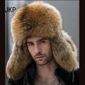 Star Fur 2016 Genuine Silver Fox Fur Hats Men Real Raccoon Fur Lei Feng Cap for Russian Men Bomber Hats with Leather Tops 1002