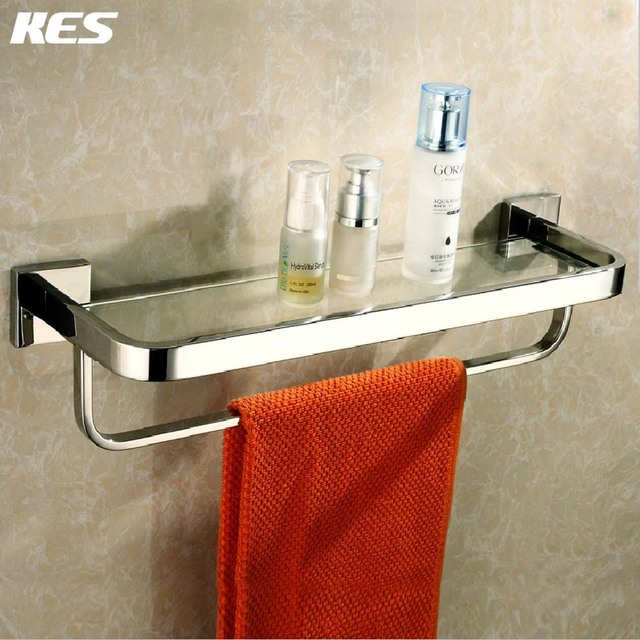 KES A2621 Bathroom Lavatory Tempered Glass Shelf With Towel Bar Wall Mount,  Polished Stainless Steel