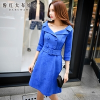original dresses 2017 new autumn solid navy blue plus size fashion slim high waisted vintage double breasted dress women