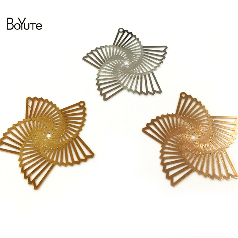 BoYuTe 20Pcs Silver Gold Filigree Metal Windmill Wholesale Pendant Charms for Jewelry Making Diy (2)