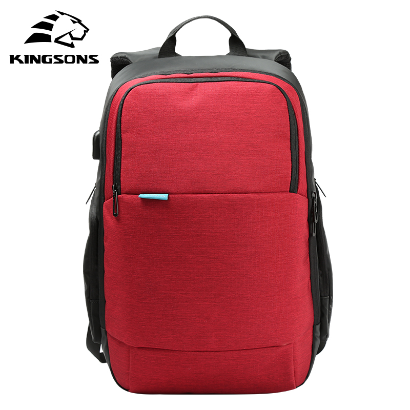 Kingsons Brand 2017 New Arrival External USB Charge Travel Backpack Anti-theft Notebook Computer Bag 15.6 inch for Men Women