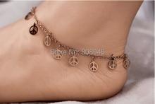 Fashion peace sign Tassels 14KRose Gold Plated font b Women b font Anklet Ladies Foot Chian
