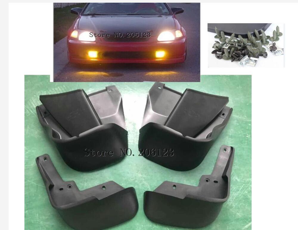 Lot de 4 garde-boue de protection avant et arrière gauche + droite pour Honda Civic 1996 1997 1998 1999 2000