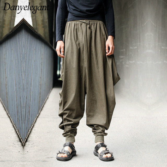 d86a3271013 Men trousers Japanese Samurai Style Boho Casual Low Drop Crotch Loose Fit Harem  Baggy Hakama Capri Cropped Linen Pants Trousers