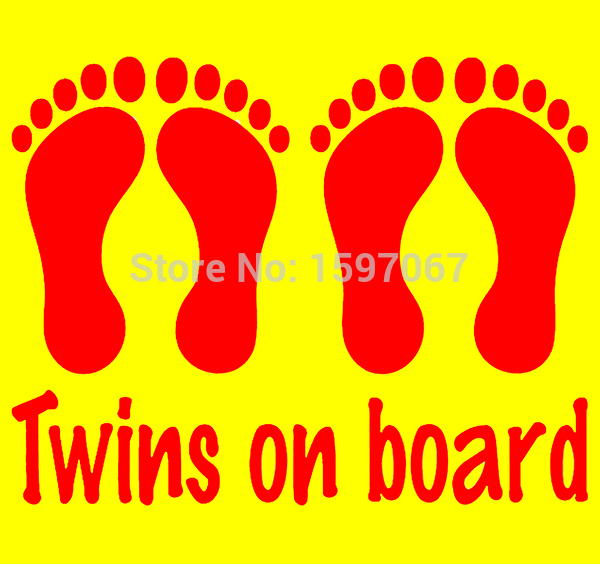 Twins On Board Baby Feet Twin Family Graphic Car Window Sticker Truck SUV Door Laptop Vinyl Decal