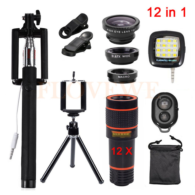 HD 12in1 kit 3 en 1 ojo de Pez Gran Angular lente de Teléfono macro lentes de zoom de 12x teleobjetivo lentes selfie remoto trípode clips de luz de flash