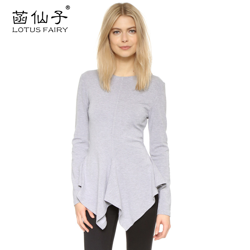 Lotus fairy womens T-shirt hem unregular long sleeve Tshirt round neck Women tops autumn slim shirt fashion top tee shirt wome
